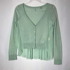 Anthro Knitted & Knotted Seafoam Cardigan Top